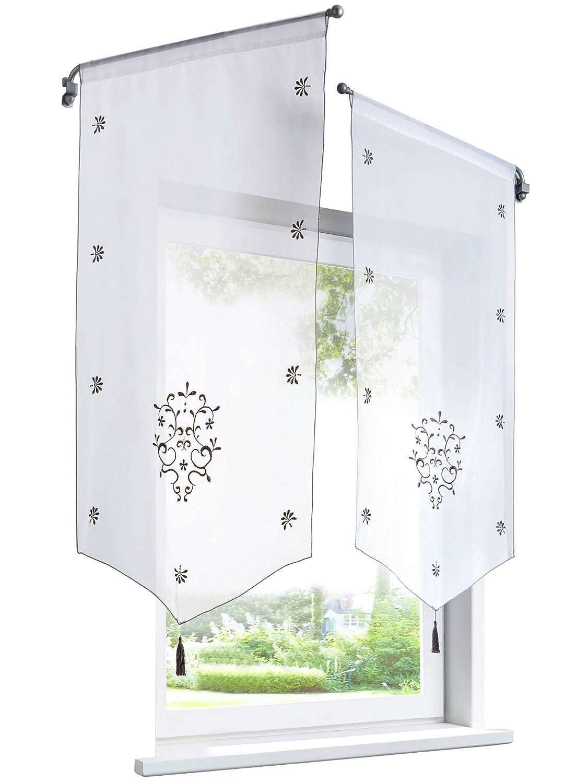 1Pièce Rideau Voilage Brise-bise en Polyester Broderie Fleurs avec Pompon  Rideaux Courts Décoration de 46ce8b7a8aa7