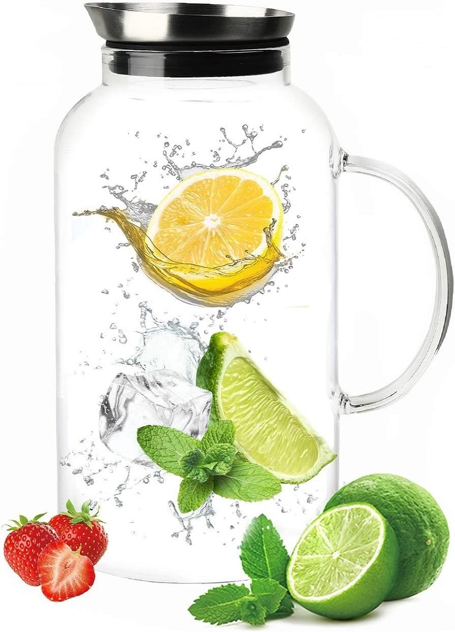 SmartHom 75 Ounces Glass Pitcher, Drip-Free Water Pitcher With Tight Lid and Pretty Brush