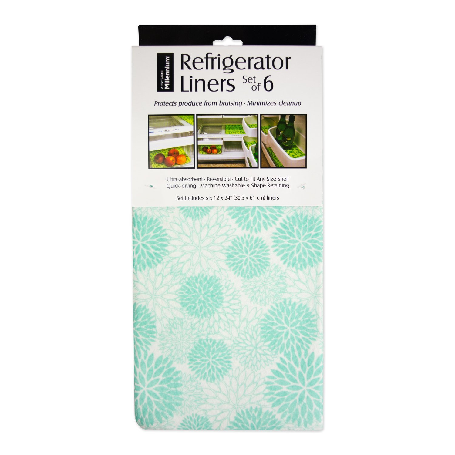 "DII Non Adhesive Cut to Fit Machine Washable Fridge Liner For Drawers, Bins, Trays, Protect Produce, Set of 6, 12 x 24"" - Aqua Dahlia"