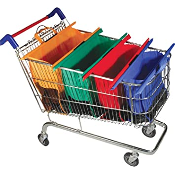 Juego de 4 bolsas para carro de la compra plegables y reutilizables, Small: Amazon.es: Hogar