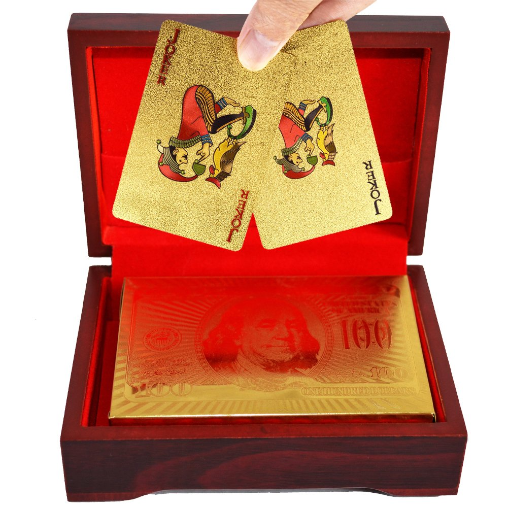SandiaSummer 24K Gold Foil Playing Cards 100 Dollar Poker Full Deck with Wood Box