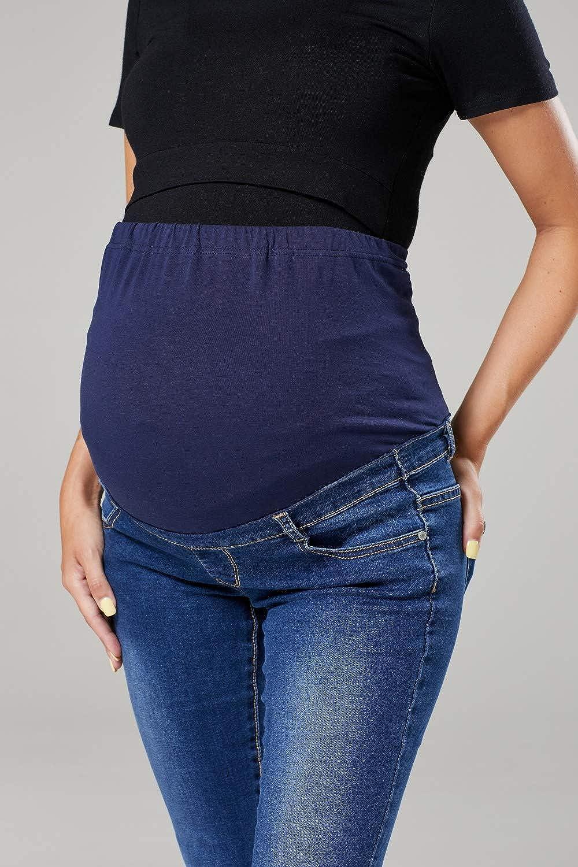 HAPPY MAMA Premama Pantalones para Mujer sobre Panel Vientre El/ástico Recto 2000