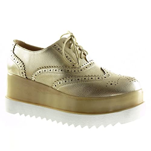 Angkorly - Zapatillas Moda Zapato Acento Plataforma Mujer Perforado Talón Plataforma 7 CM: Amazon.es: Zapatos y complementos