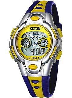 OTS - Reloj Digital Deportivo Impermeable Luminoso de Cuarzo con Alarma para Niños y Estudiantes