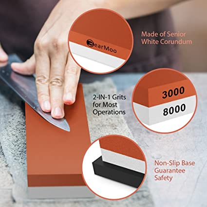 BearMoo Whetstone 2-IN-1 Sharpening Stone 3000/8000 Grit Waterstone, Rubber Stone Holder Included