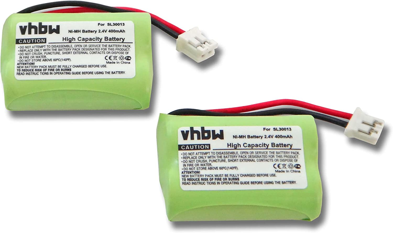vhbw Set de 2 baterías NiMH de 400mAh (2.4V) para teléfono inalámbrico Audioline DECT 7500, 7500 Micro, 7501, 7800, 7800B, 7801 y SL30013.