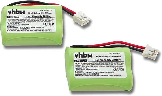 vhbw Set de 2 baterías NiMH de 400mAh (2.4V) para teléfono inalámbrico Audioline DECT 7500, 7500 Micro, 7501, 7800, 7800B, 7801 y SL30013.: Amazon.es: Electrónica