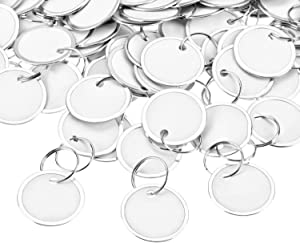 Fanrel 100 Pieces Metal Rimmed Key Tags Round Paper Tags with Split Rings (31mm, White)