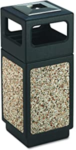 Safco Products 9470NC Canmeleon Aggregate Panel Trash Can, Ash Urn/Side Open, 15-Gallon, Black