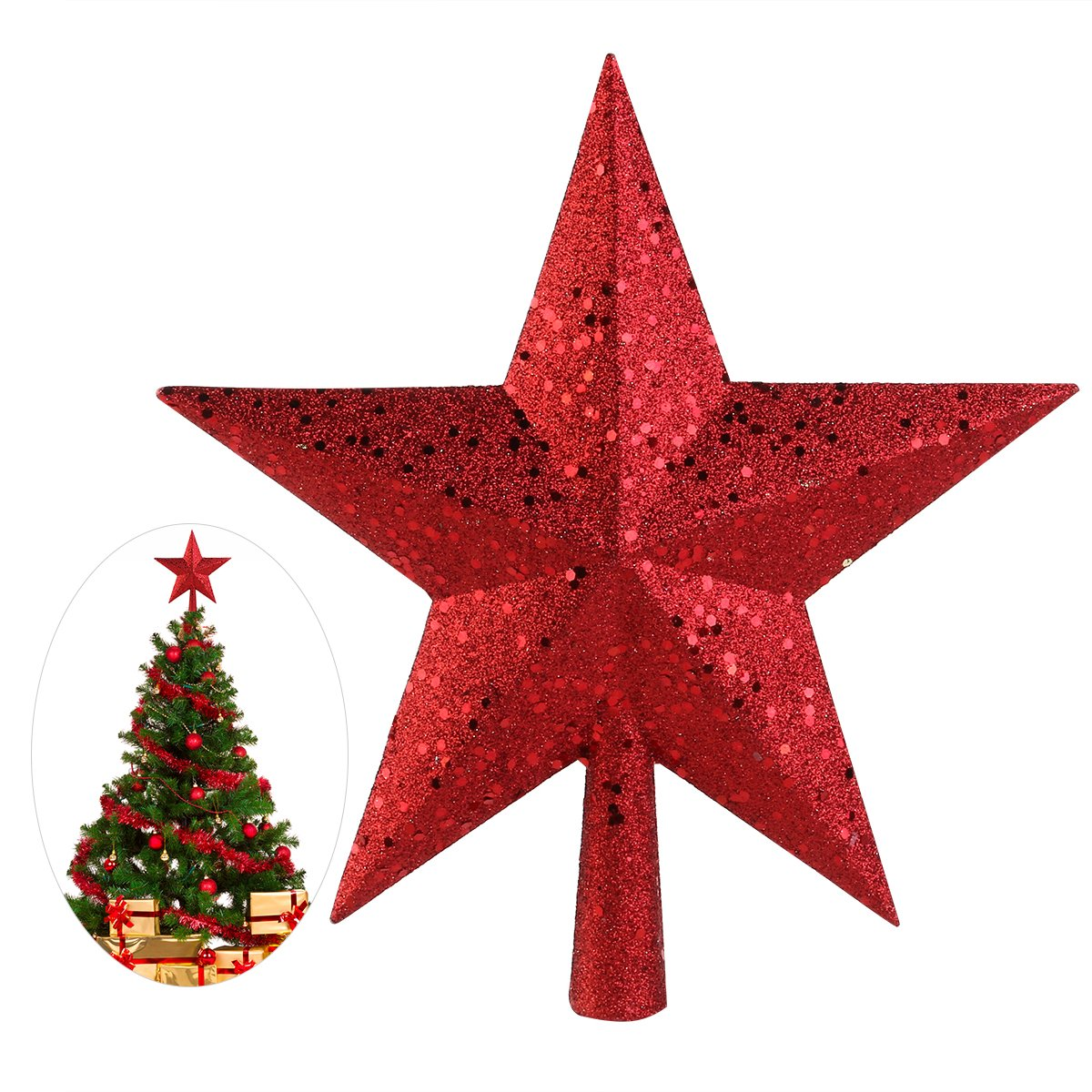 NICEXMAS Christmas Tree Toppers Star Treasures Glittered Decoration Ornament, 9 inch (Gold) (9inch, Red)