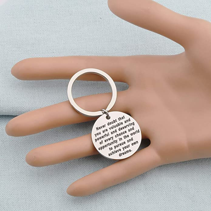 bobauna Never Doubt That You are Valuable and Powerful Keychain Hillary Clinton Quote Politics Motivational Gift for Feminism