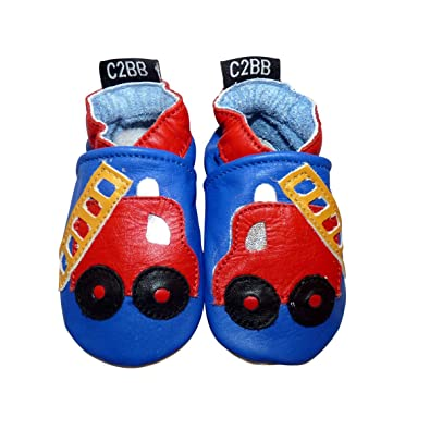 Soft leather baby shoes fire engines