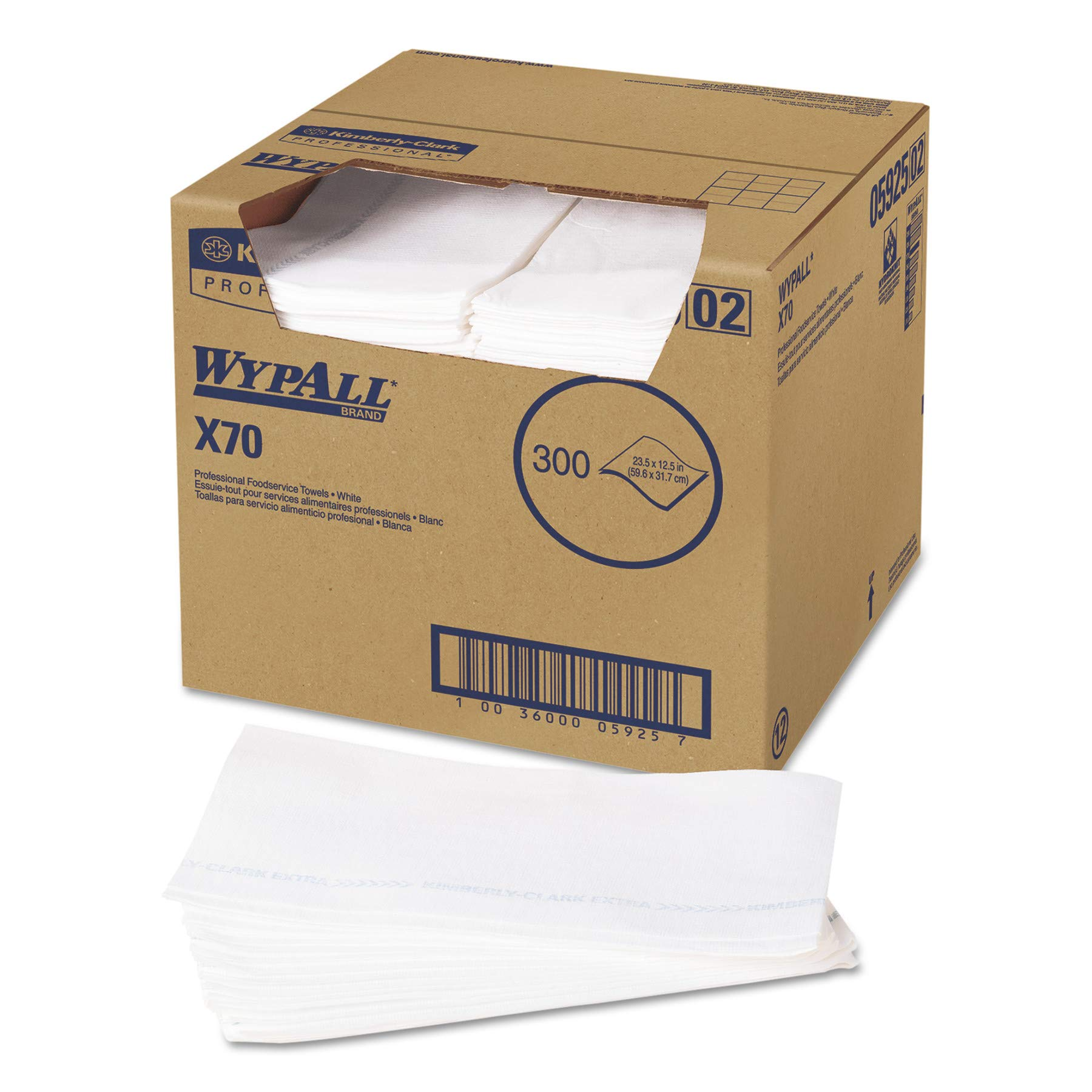 WypAll 05925 X70 Wipers, Kimfresh Antimicrobial, 12 1/2 x 23 1/2, White (Box of 300) by Wypall