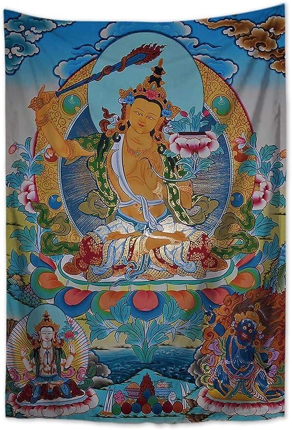 Saumya Manjushri Bodhisattva of Wisdom Tibetan Thangka tapestry cloth poster