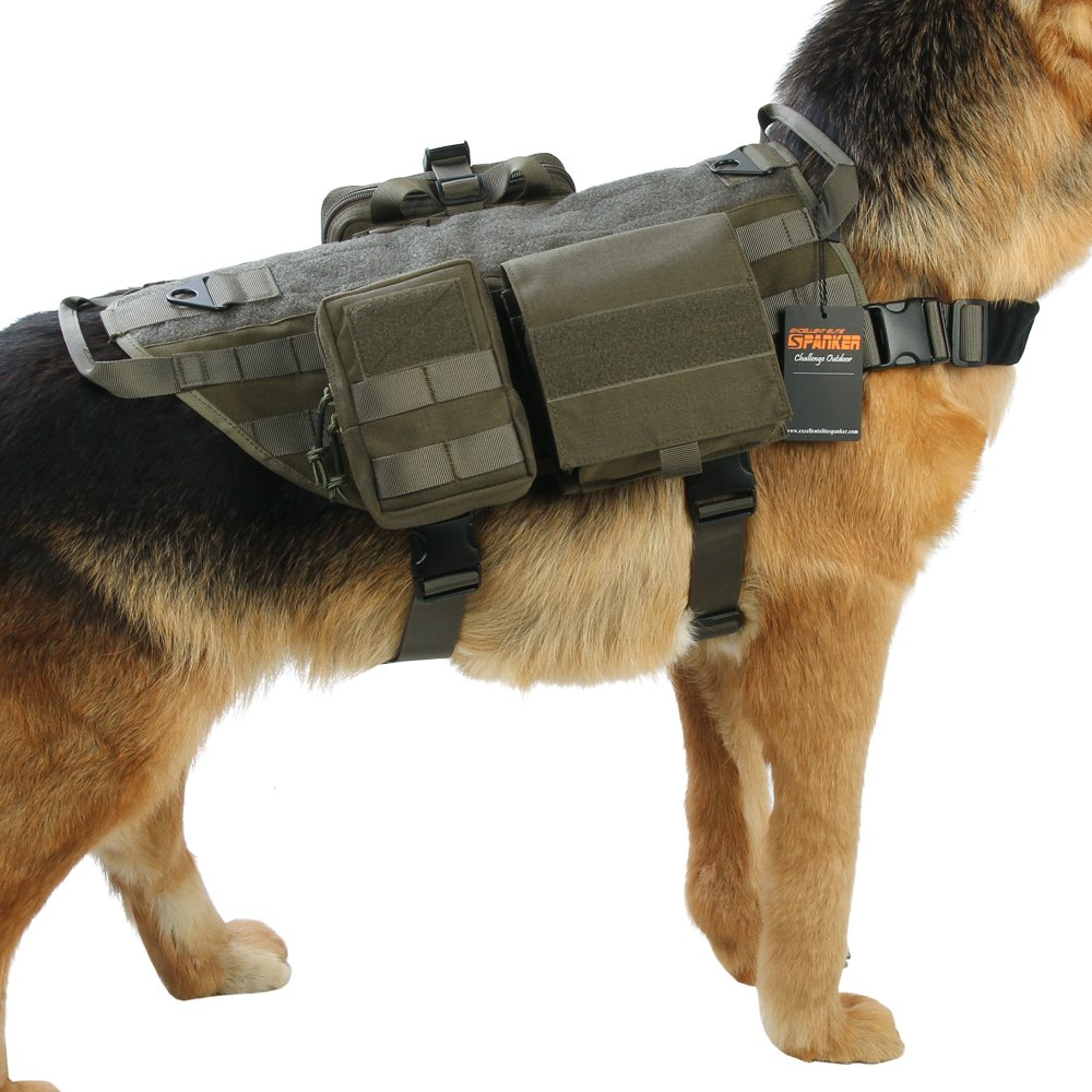 EXCELLENT ELITE SPANKER Tactical Nylon Molle Dog Vest Training Dog Vest Handle with 2~3 Detachable Pouches(Ranger Green-M)
