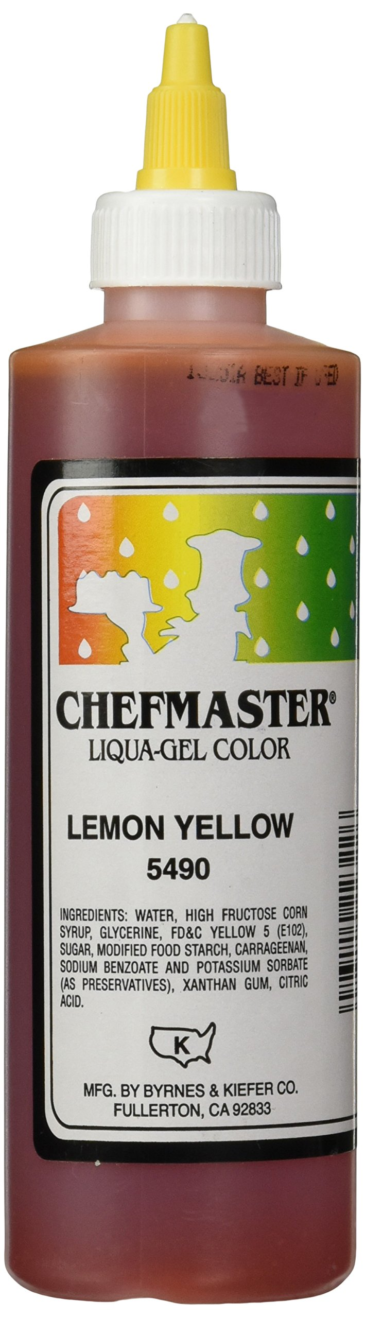 Chefmaster Liqua-Gel Food Color, 10.5-Ounce, Lemon Yellow [labeling may vary] by Chefmaster