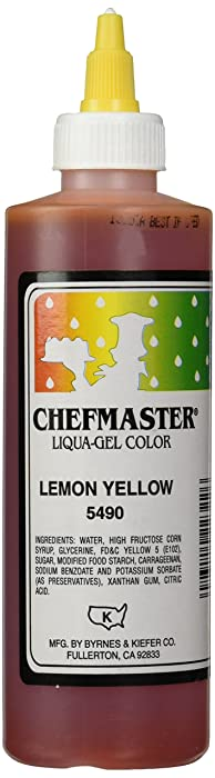 Chefmaster Liqua-Gel Food Color, 10.5-Ounce, Lemon Yellow [labeling may vary]
