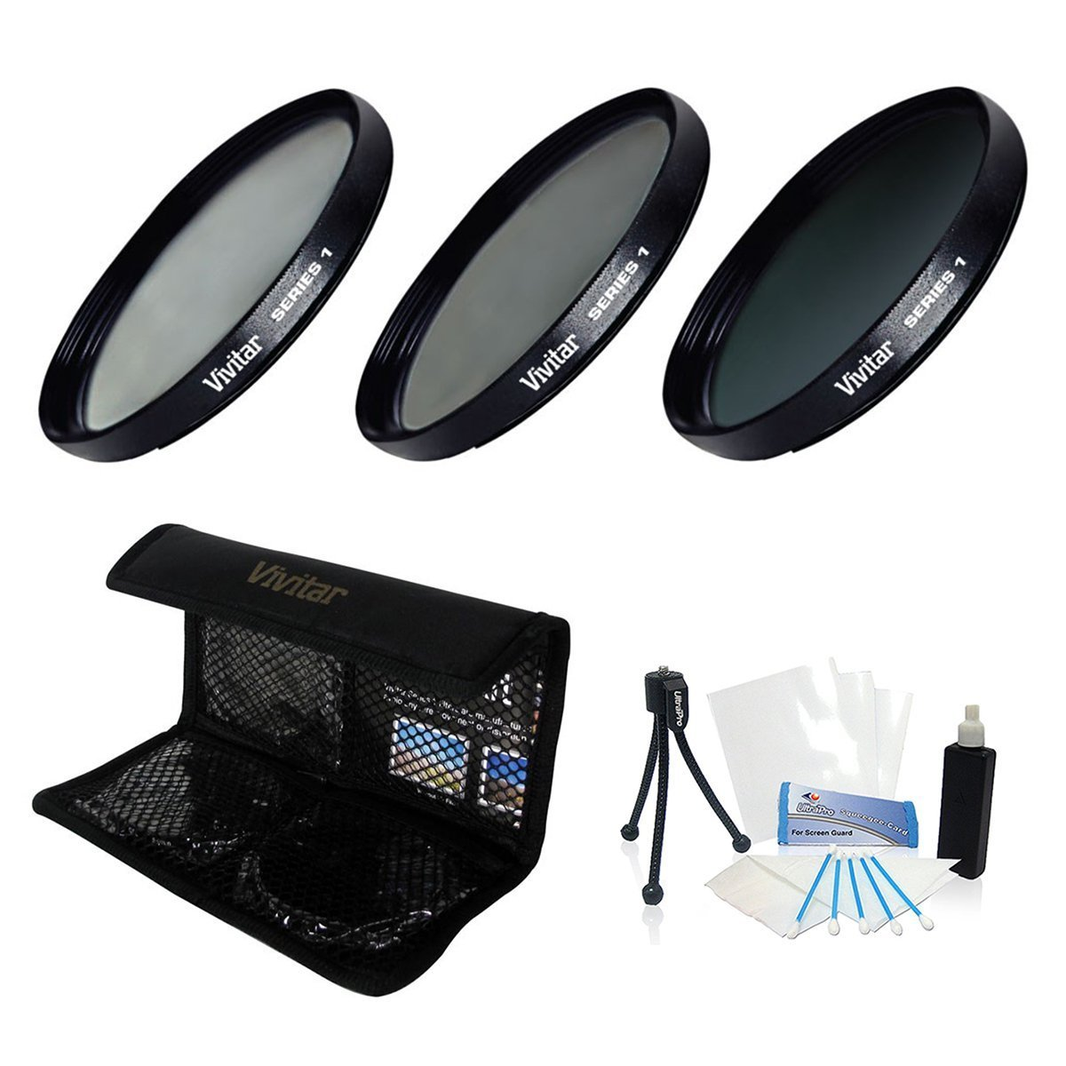 UltraPro 55mm Digital High-Resolution ND8 Filter Kit (UV, CPL, ND8) with Deluxe Filter Carry Case for the Sony FDR-AX53 4K Ultra HD Handycam Camcorder. UltraPro Deluxe Accessory Set Included