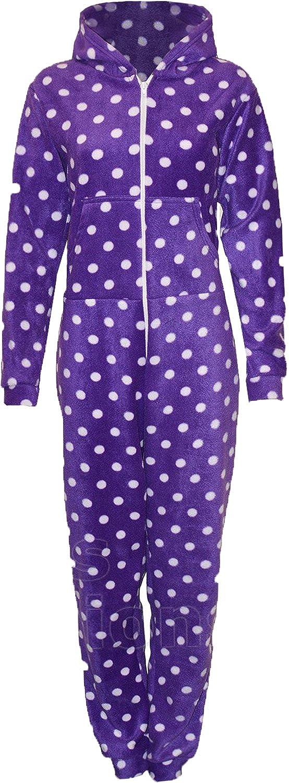 Para mujer chaqueta con capucha músculos todo en pijama de una pieza nuevo de lunares mamelucos para mujer de forro polar para mayores de: Amazon.es: Ropa y ...