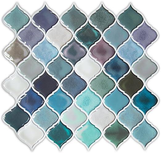 HUE DECORATION l and Stick Decorative Tile - Arabesque Design, Modern on teal glass tile kitchen backsplash, teal kitchen paint color ideas, teal painted backsplash,