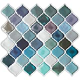 Tin kitchen backsplash tiles set of 14 silver by for Teal peel and stick wallpaper
