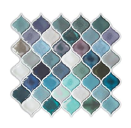 turquoise quatrefoil peel and stick tile backsplash self adhesive rh amazon com aspect self-adhesive backsplash tiles self adhesive backsplash wall tiles uk