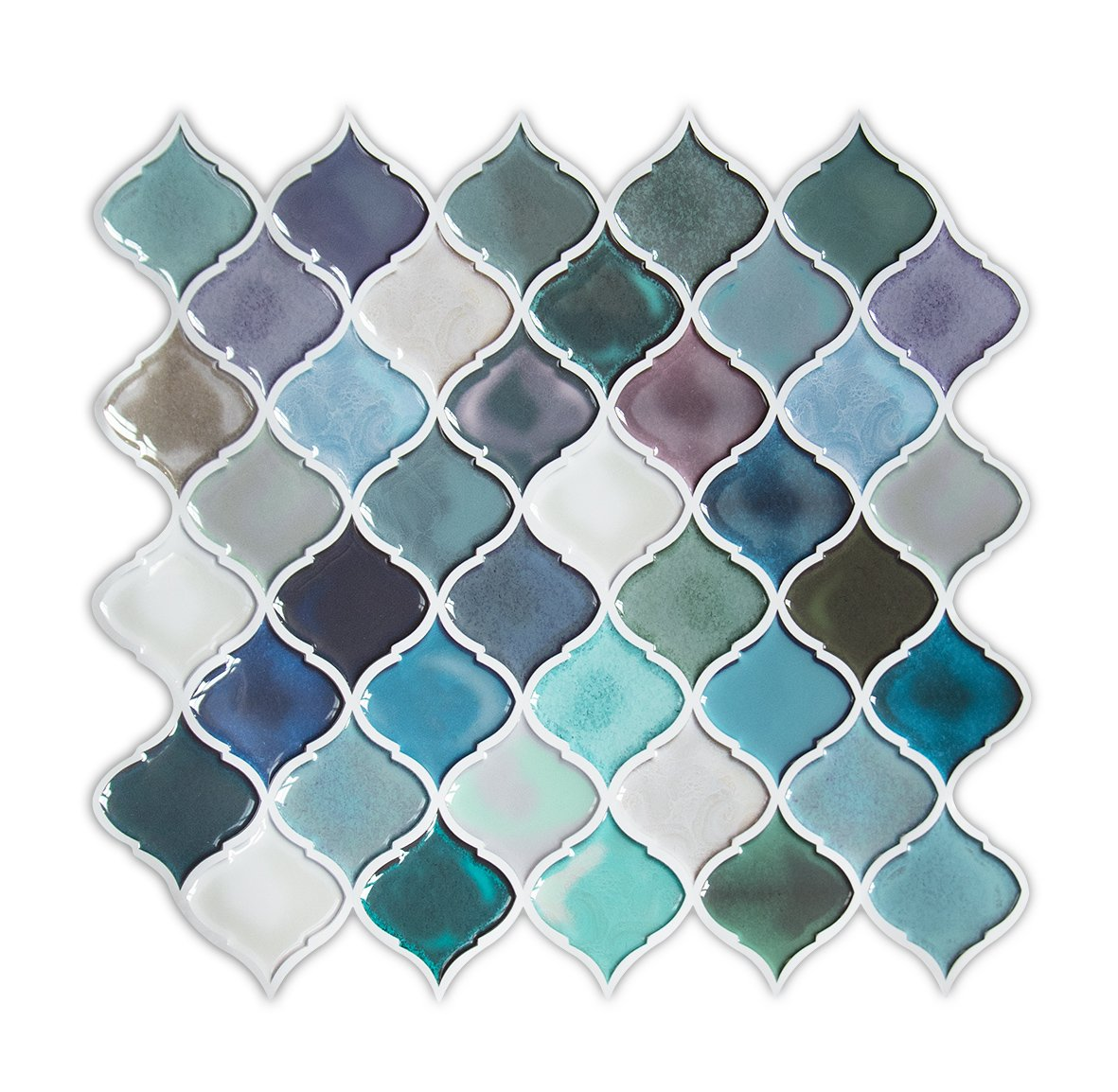 HUE DECORATION Turquoise Quatrefoil Peel and Stick Tile Backsplash, Self Adhesive Wall Tile for Kitchen & Bathroom 10''x11.26'' Pack of 2 (Sample)