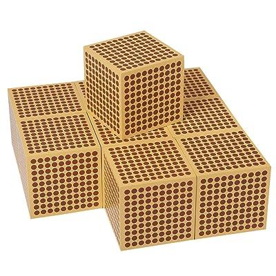 LEADER JOY Montessori Mathematics Materialc 9 Wooden Thousand Cubes: Toys & Games