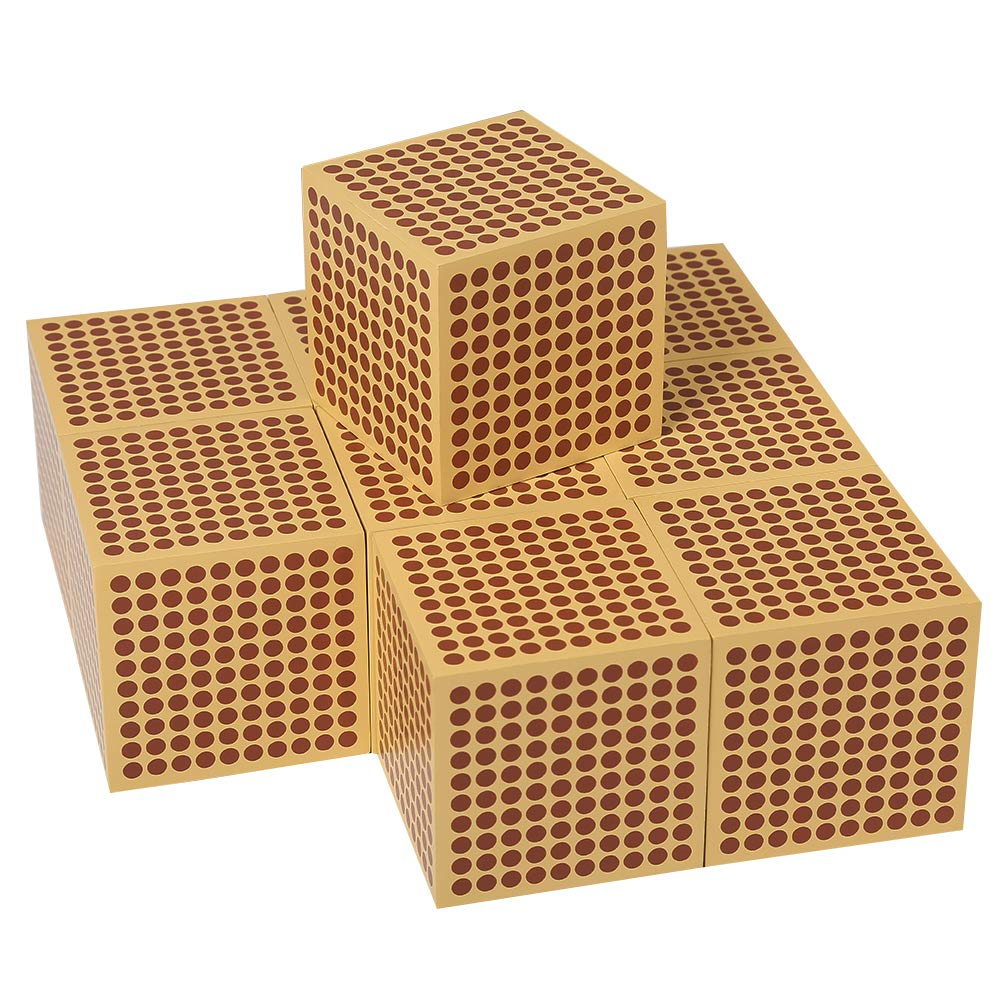 LEADER JOY Montessori Mathematics Materialc 9 Wooden Thousand Cubes