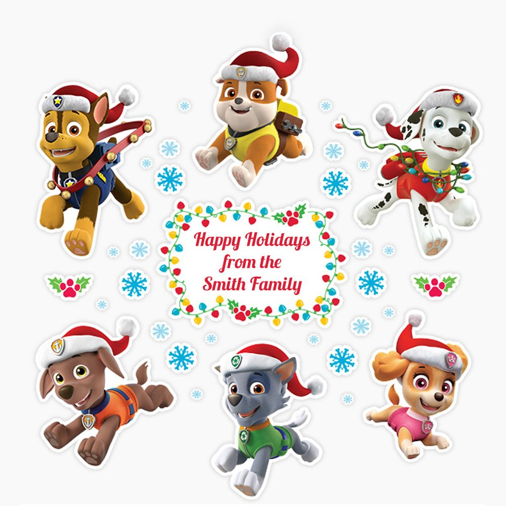 Paw Patrol Christmas Wall Decals Peel and Stick Removable Reusable Decoration Oliver's Labels