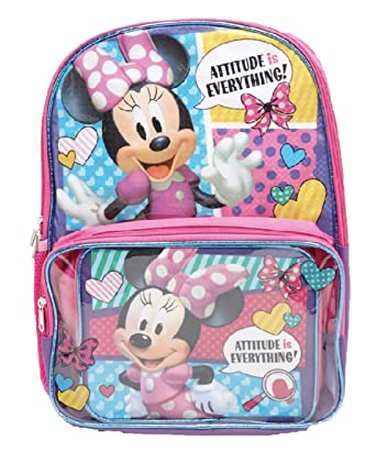 fb740404443 Amazon.com  Minnie Mouse Disney Backpack with Clear Pocket Lunchbox Bag   Clothing