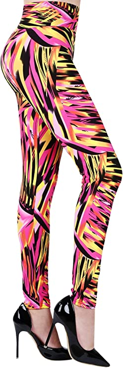 1980s Clothing, Fashion | 80s Style Clothes SATINIOR Soft Printed Leggings 80s Style Neon Leggings Pants with Assorted Designs for Women and Girls $10.99 AT vintagedancer.com