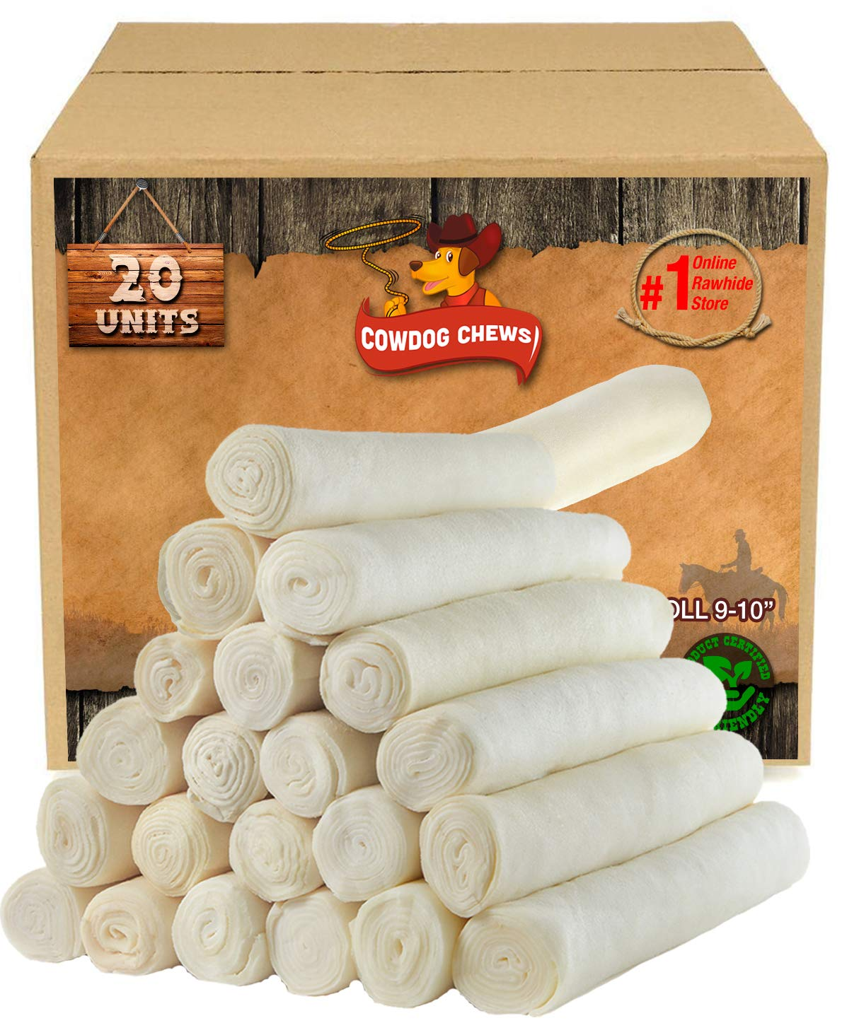 Retriever roll 9-10″ (20 Pack) Extra Thick Cow Dog Chews️