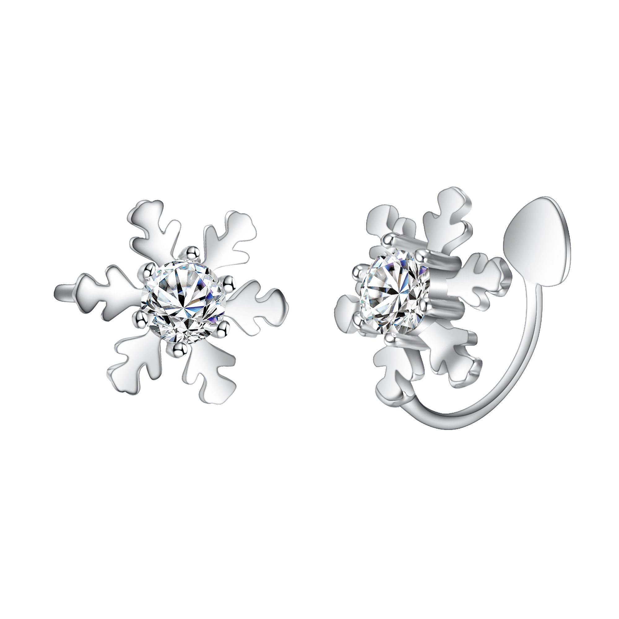 EleQueen 925 Sterling Silver CZ Winter Snowflake Ear Crawlers Sweep Wrap Cuff Bridal Clip-on Earrings Clear 1 Pair