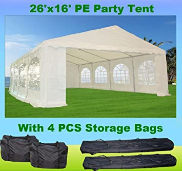 26u0027x16u0027 PE Party Tent White - Heavy Duty Wedding Canopy Carport - with  sc 1 st  Amazon.com & Amazon.com : 26u0027x16u0027 PE Party Tent White - Heavy Duty Wedding ...