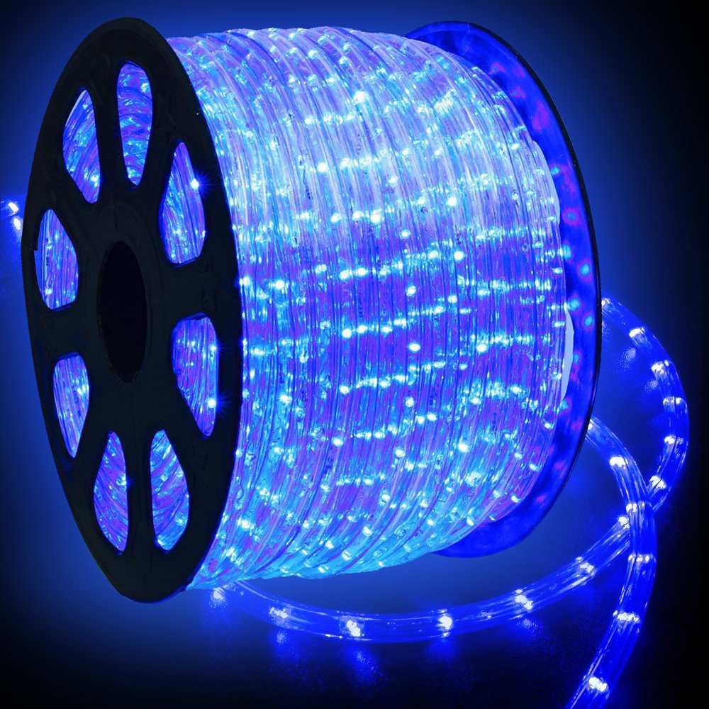 WYZworks 150 feet Blue LED Rope Lights - Flexible 2 Wire Accent Holiday Christmas Party Decoration Lighting | UL Certified