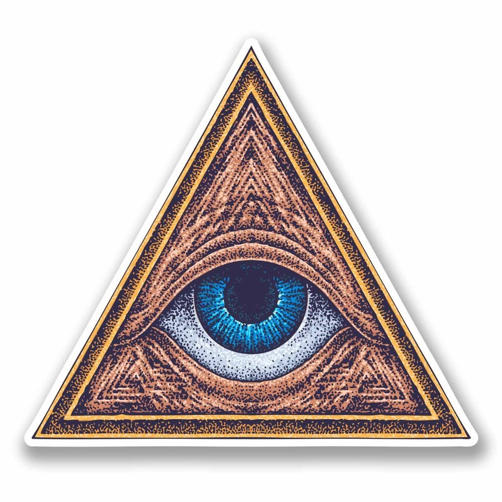 2 x 10cm/100mm All Seeing Eye of Providence Window Cling Sticker Car Van Campervan Glass #9729