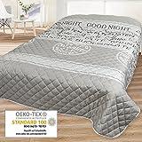 Couvre-lit BONNE NUIT / Jeté de Lit / pour lit double / gris / 220x240 cm