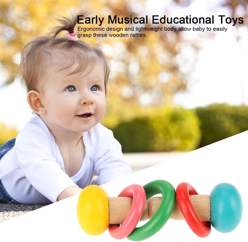 Fdit Bambino sonagli di Legno Che innesta i Giocattoli educativi Musicali Infantili Infantili precoce Grasp Type