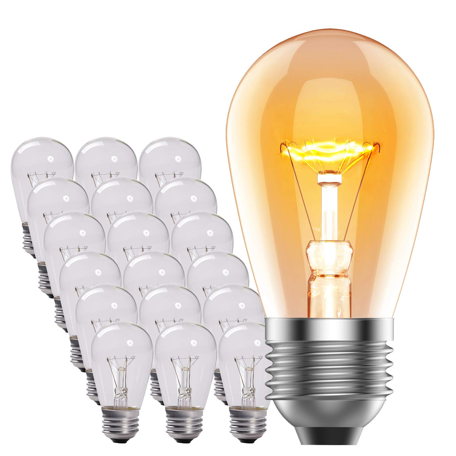 pack of 18 commercial grade 11-watt s14 replacement incandescent light bulbs  with e26 medium base, for indoor and outdoor use - especially for heavy  duty
