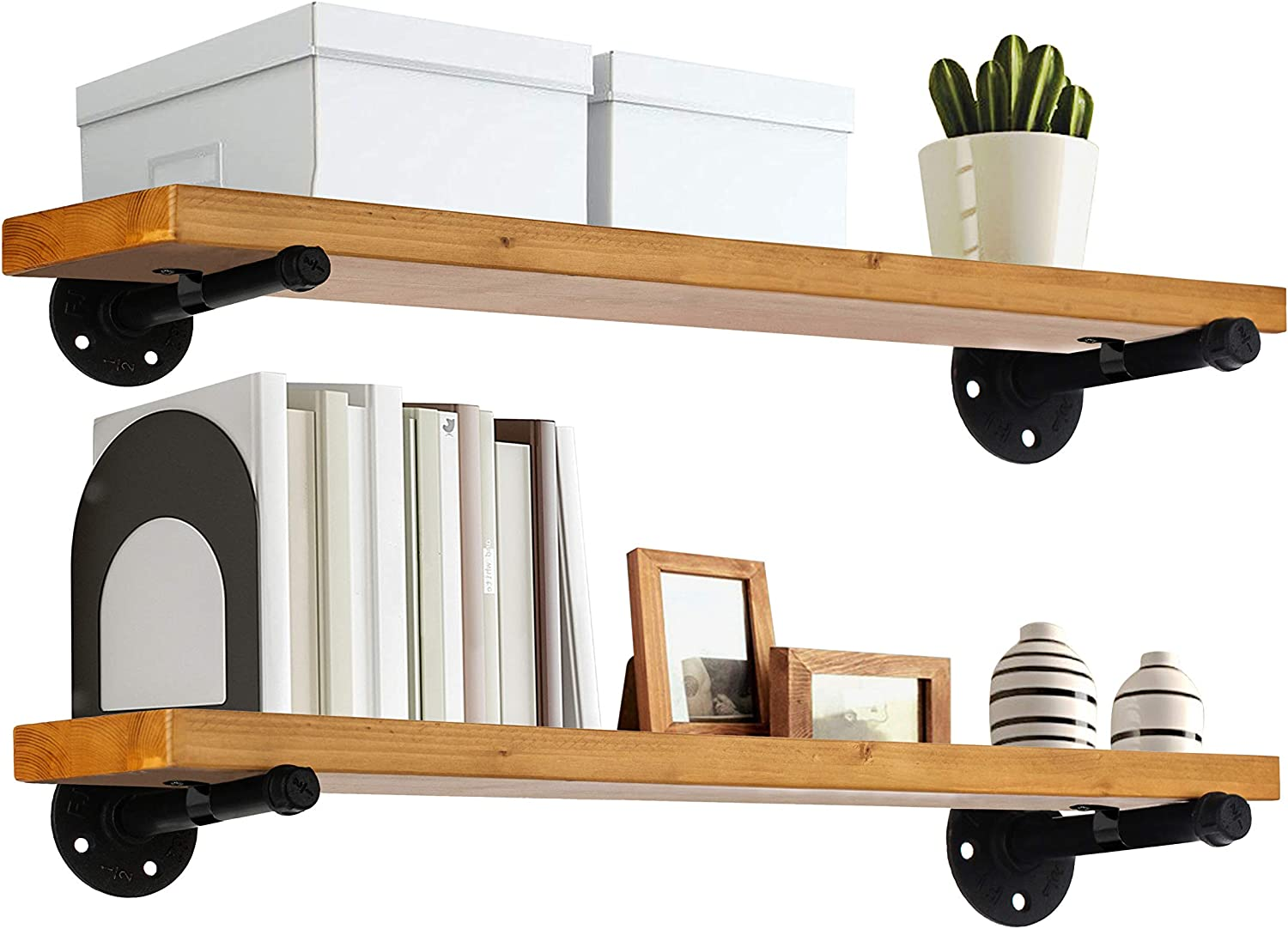"TEN49 Industrial Wood Shelf - 24"" Special Walnut Rustic Wooden Wall Shelves with Iron Pipes - Contemporary Interior Decor Floating Shelving with Pipe Brackets - Farmhouse Style Bookshelf Set of 2"
