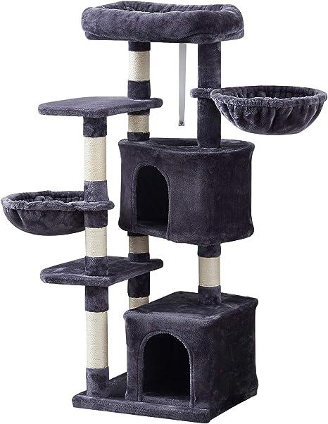 IBUYKE 135cm Árbol para Gato Torre de Escalada de Varios Niveles con Plataformas, 2 Cesta Flotante, 2 Caseta para Gatos, Columnas Recubiertas de Sisal ...