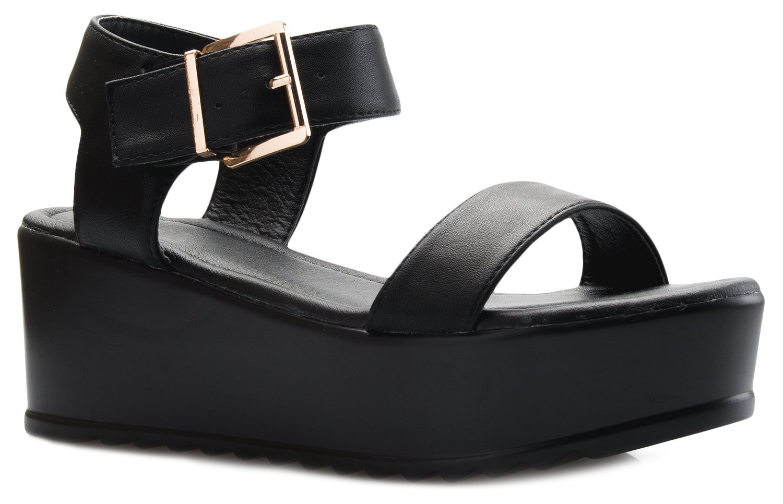 54f0ac39c OLIVIA K Women's Platform Buckle Sandal - Open Peep Toe Fashion Chunky  Ankle Strap Shoe,