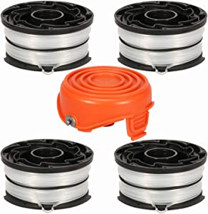 """Eyoloty String Trimmer Spools Compatible with Black and Decker DF-065 GH710 GH700 GH750 RC-065, DF-065-BKP Weed Eater Refills Line 36ft 0.065"""" Auto-Feed Dual Line Edger+ RC-065-P Spool Cover"""