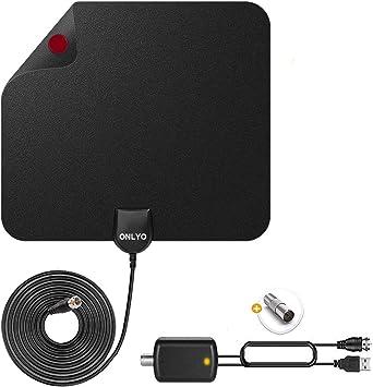 Antena TV Interior Antena de HDTV Digital con Amplificador de Señal 4K 1080p VHF UHF Alcance de 130+ Millas Antena TV Canales de TV Locales