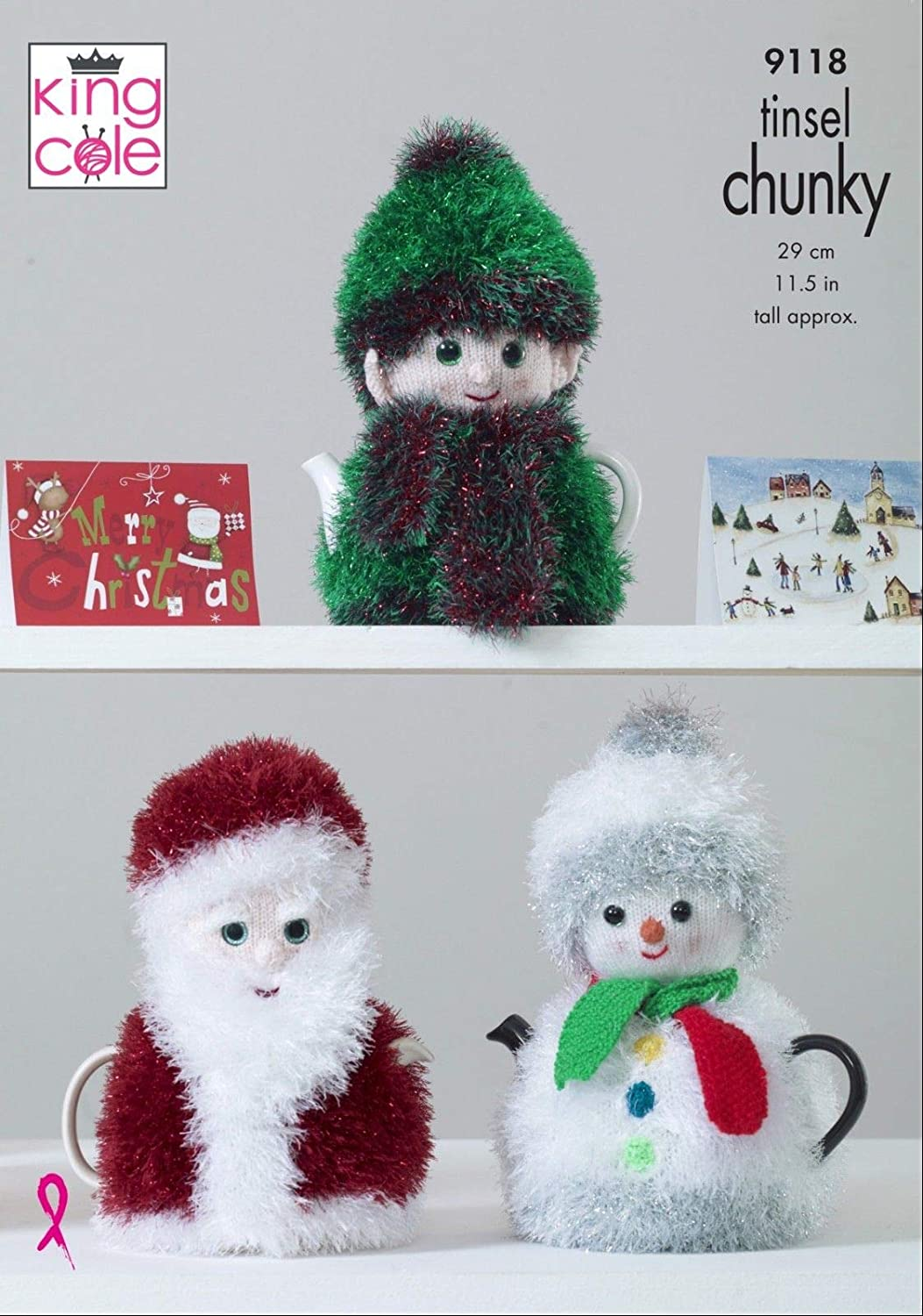 Knitting Pattern Christmas Toilet Roll Holder Snowman Santa Elf /& Reindeer 9083