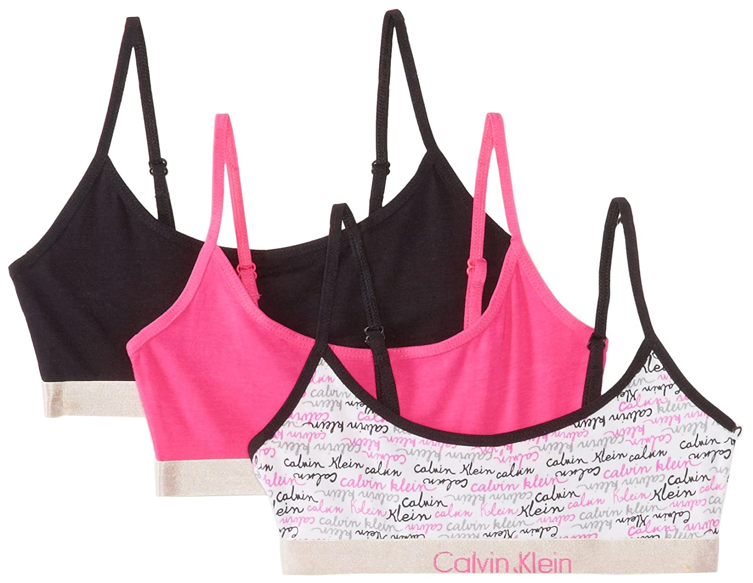 Calvin Klein Big Girls' Fashion Crop Bra (Pack of 3) 2537137223-99-PC