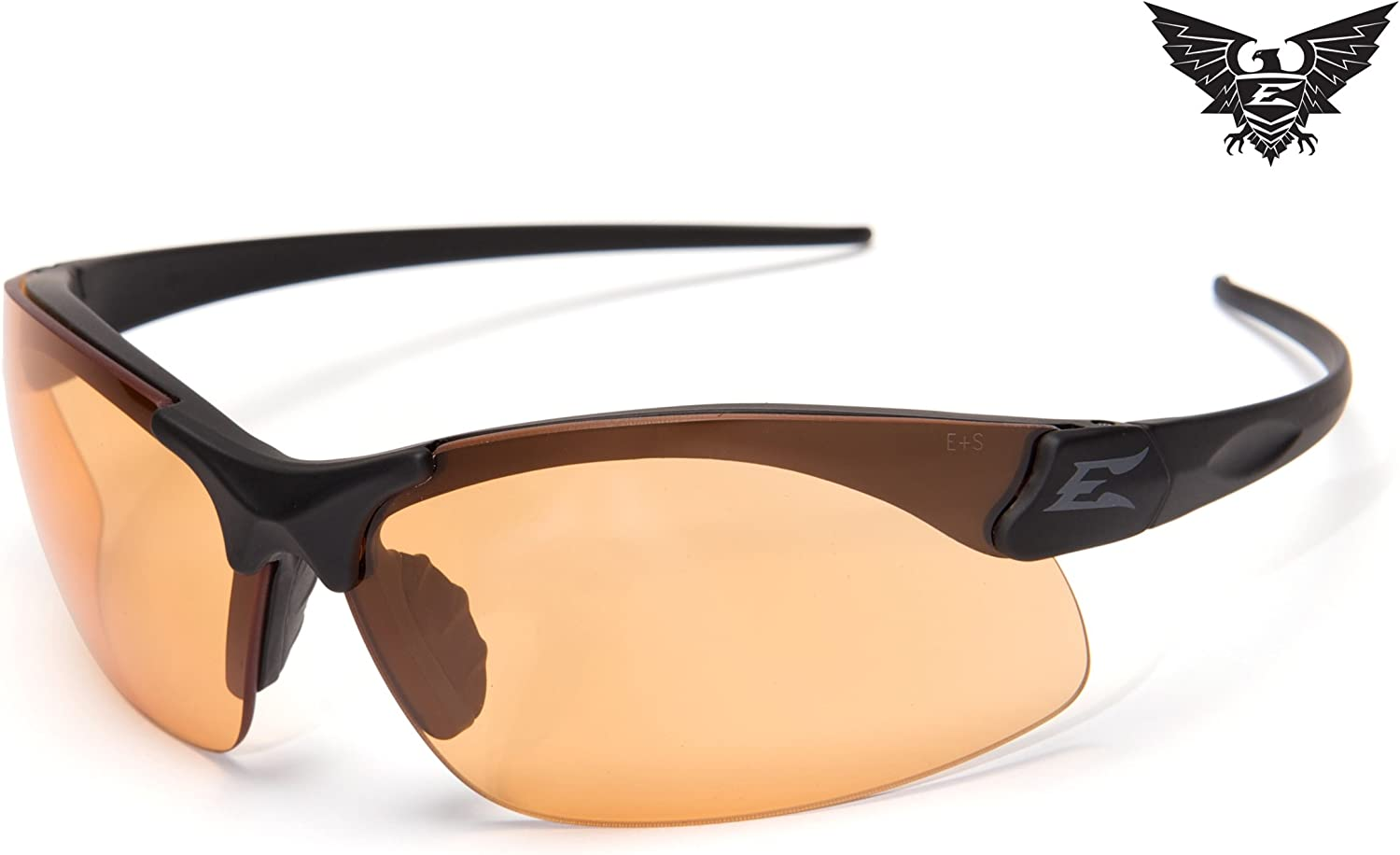 Edge Eyewear Sharp Edge Thin Temple Soft-Touch Matte Black Frame Tiger s Eye Vapor Shield Lenses