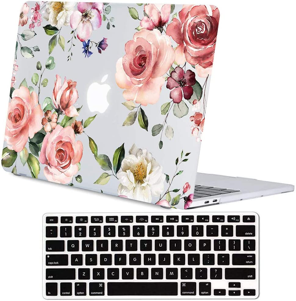 Lapac MacBook Pro 13 inch Clear Case, 2019 2018 2017 2016 Released A1989 A2159 A1706 A1708, New MacBook Pro 13 inch Case Soft Touch Hard Shell Cover with Keyboard Cover, Pink Rose Flower