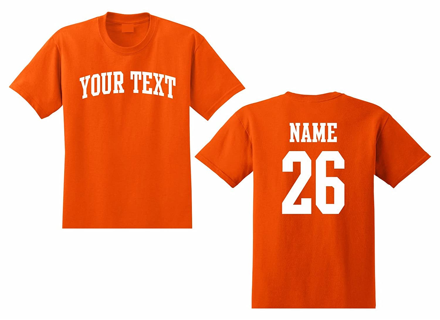 Youth Custom Personalized T-shirt, Front Arched Text, Back Name &...